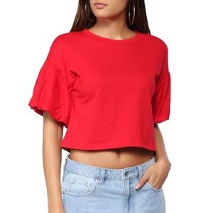 Red Puff Sleeve Top
